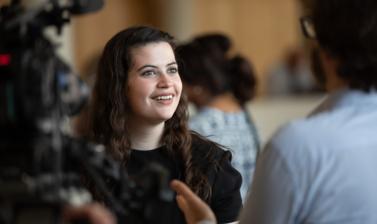 Roisin Dillon, Mount Royal University, speaking to film crew